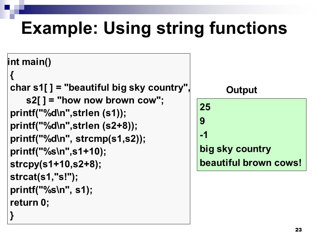 Example: Using string functions