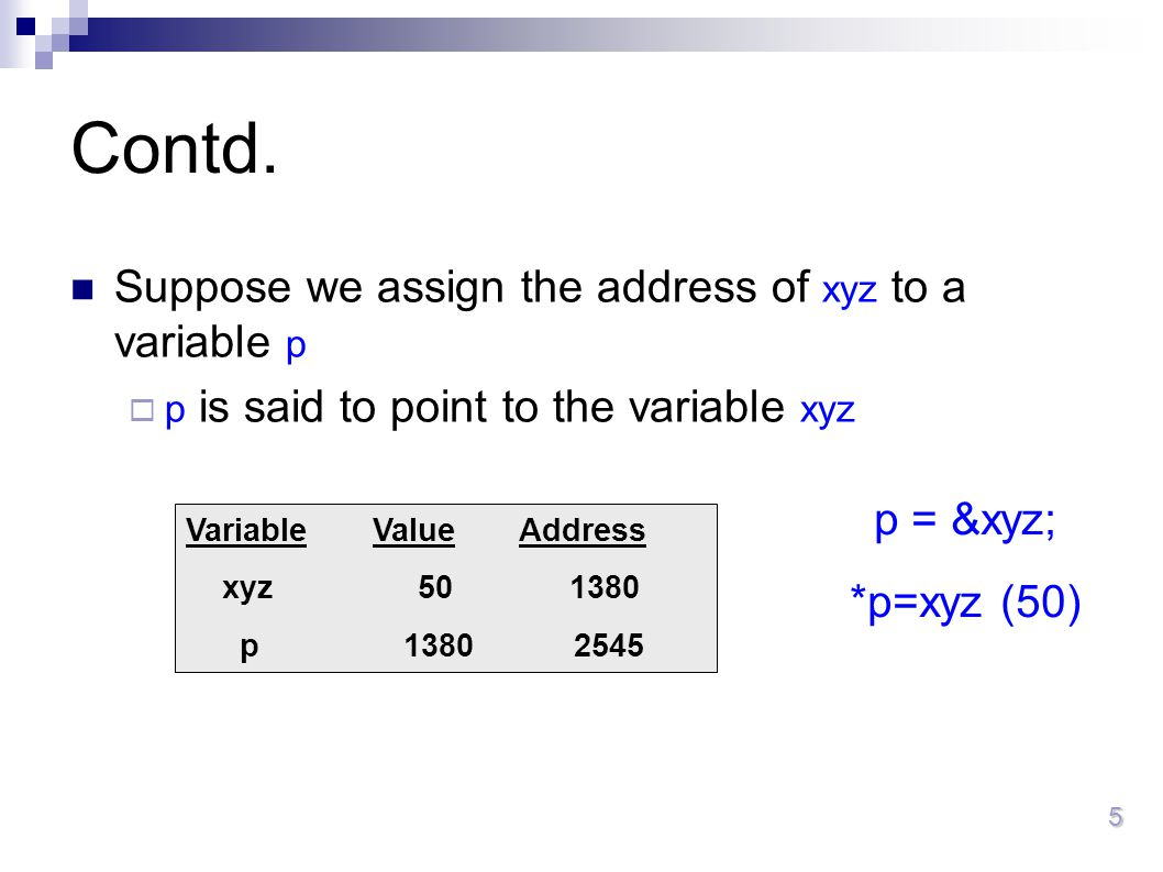 Contd. Suppose we assign the address of xyz to a variable p p = &xyz;