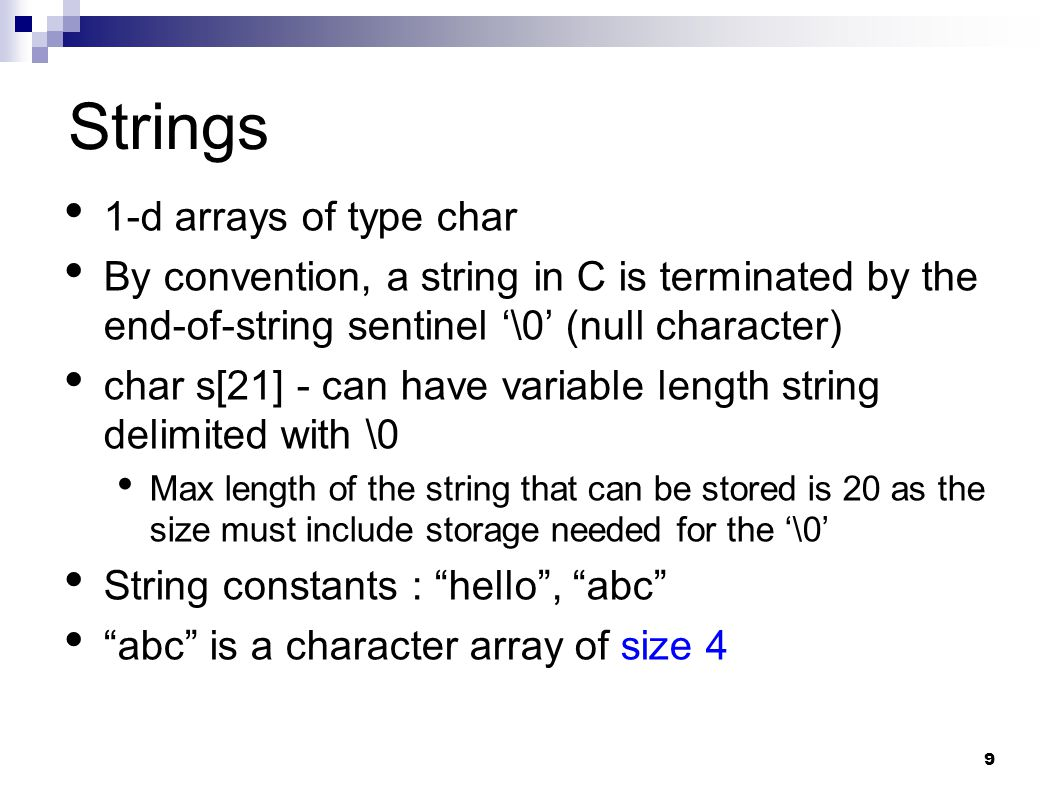 Strings 1-d arrays of type char
