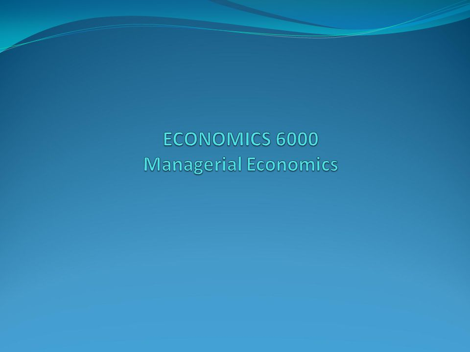 ECONOMICS 6000 Managerial Economics