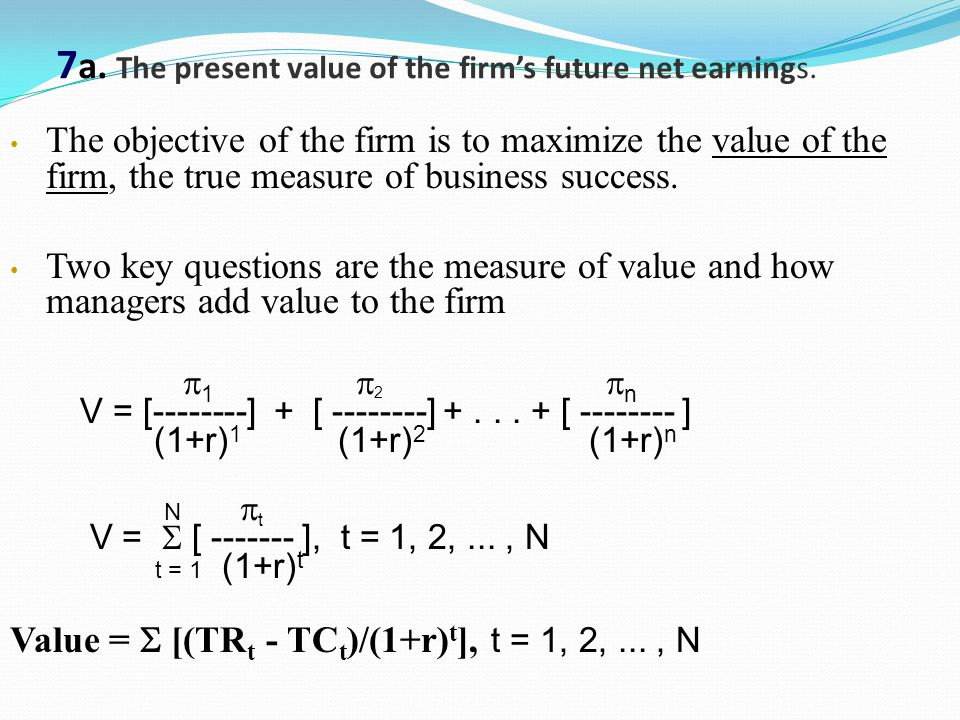 7a. The present value of the firm's future net earnings.