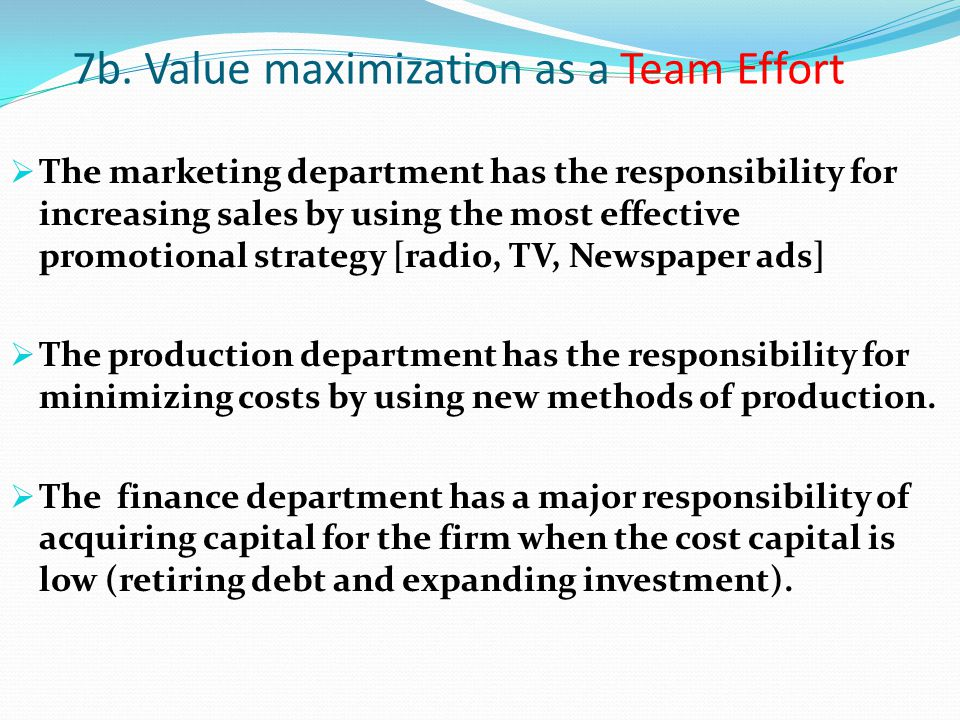 7b. Value maximization as a Team Effort