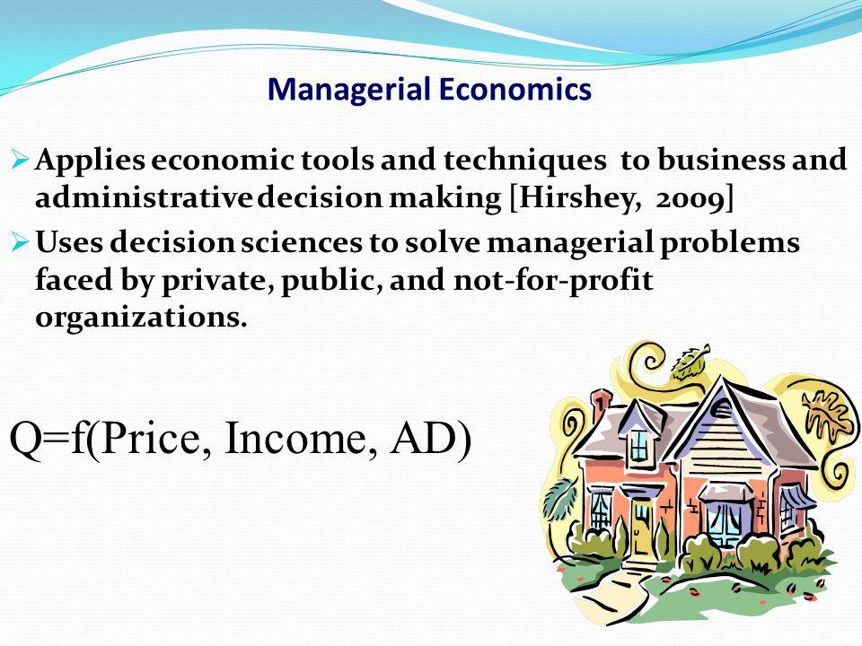 Q=f(Price, Income, AD) Managerial Economics