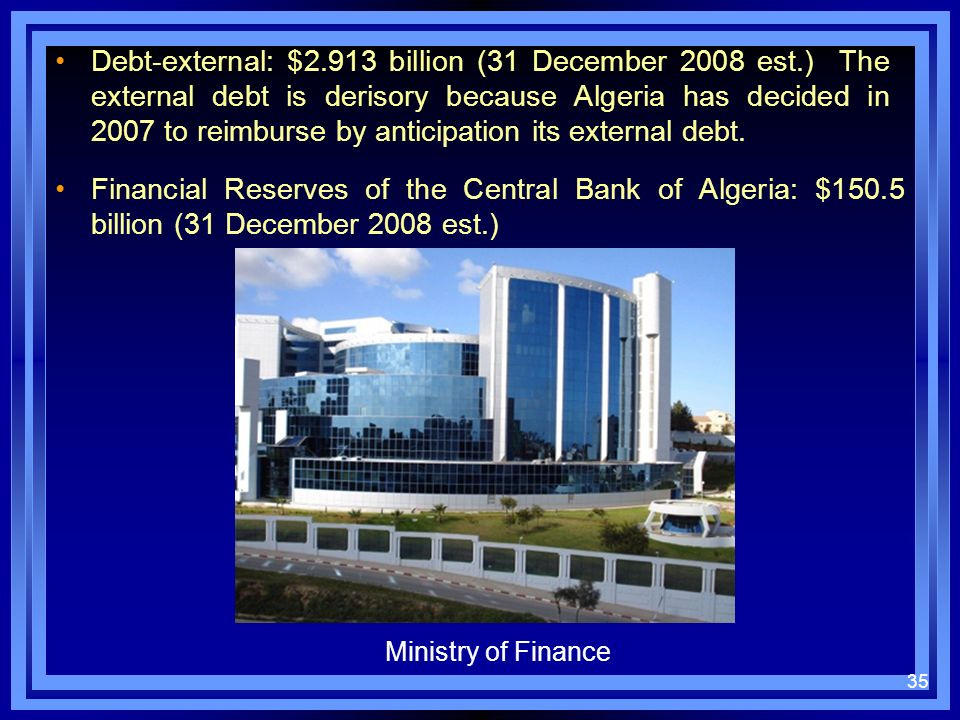 Debt-external: $2. 913 billion (31 December 2008 est