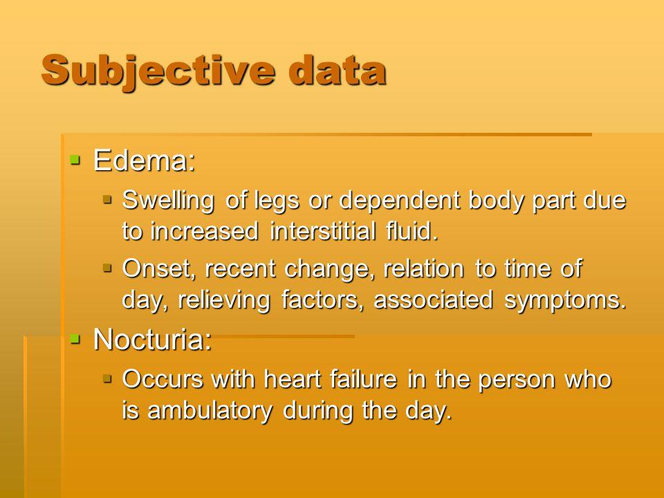 Subjective data Edema: Nocturia: