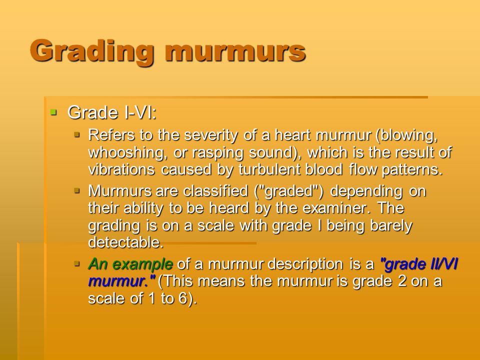 Grading murmurs Grade I-VI: