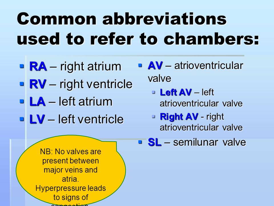 Common abbreviations used to refer to chambers: