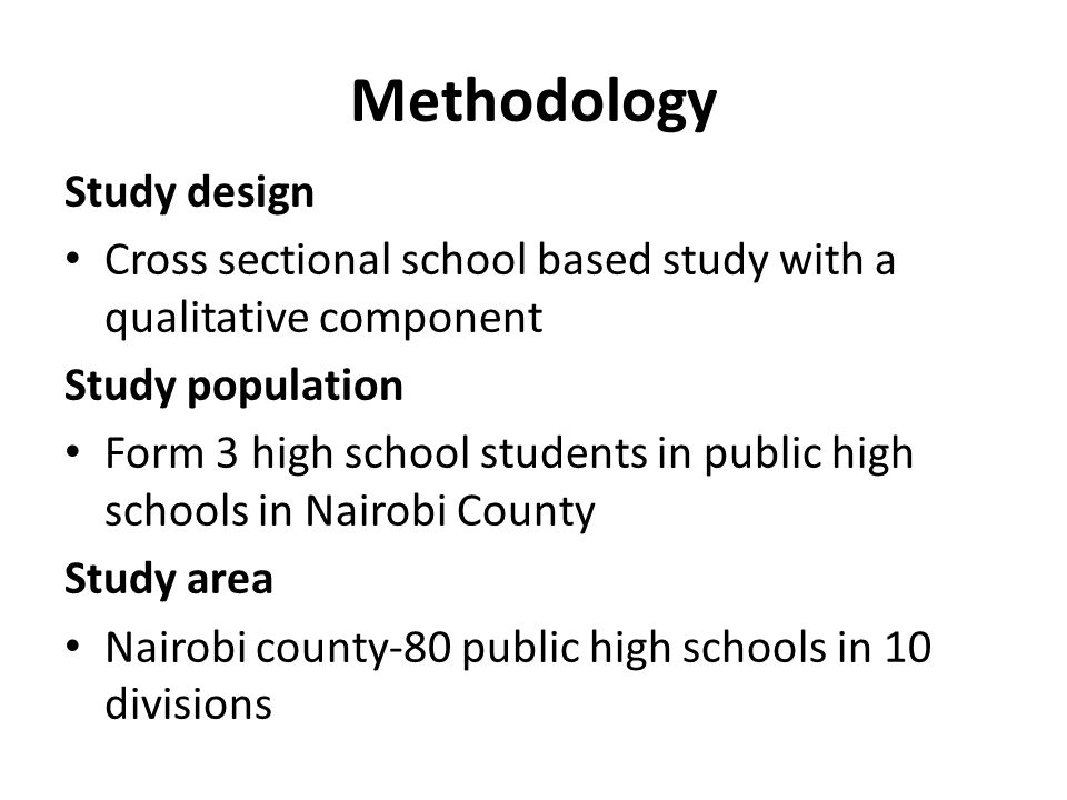 Methodology Study design
