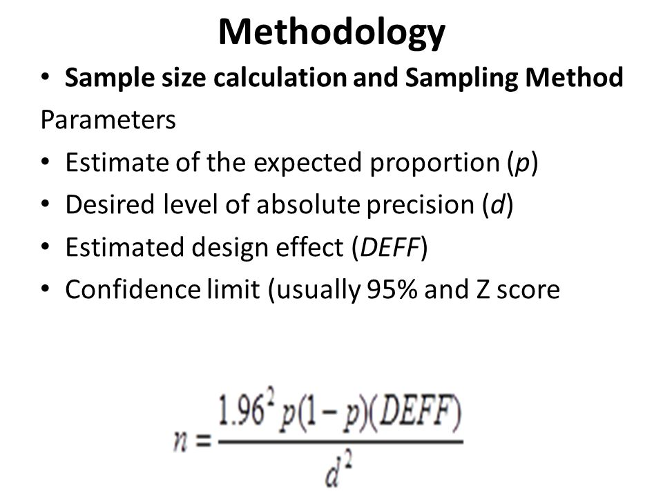 Methodology Sample size calculation and Sampling Method Parameters