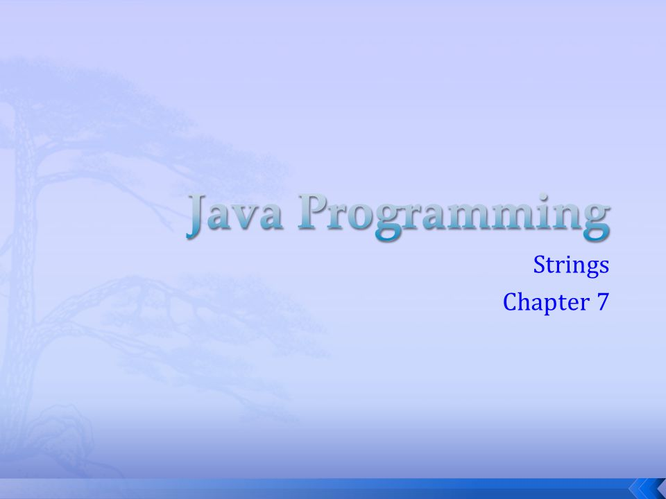 Java Programming Strings Chapter 7