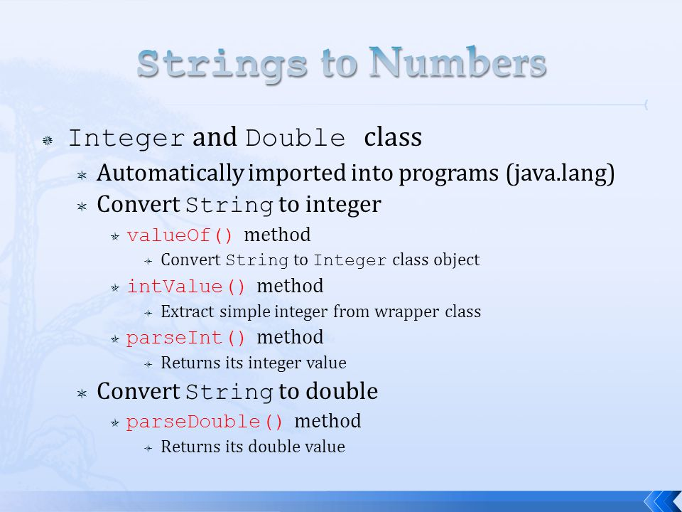 Strings to Numbers Integer and Double class