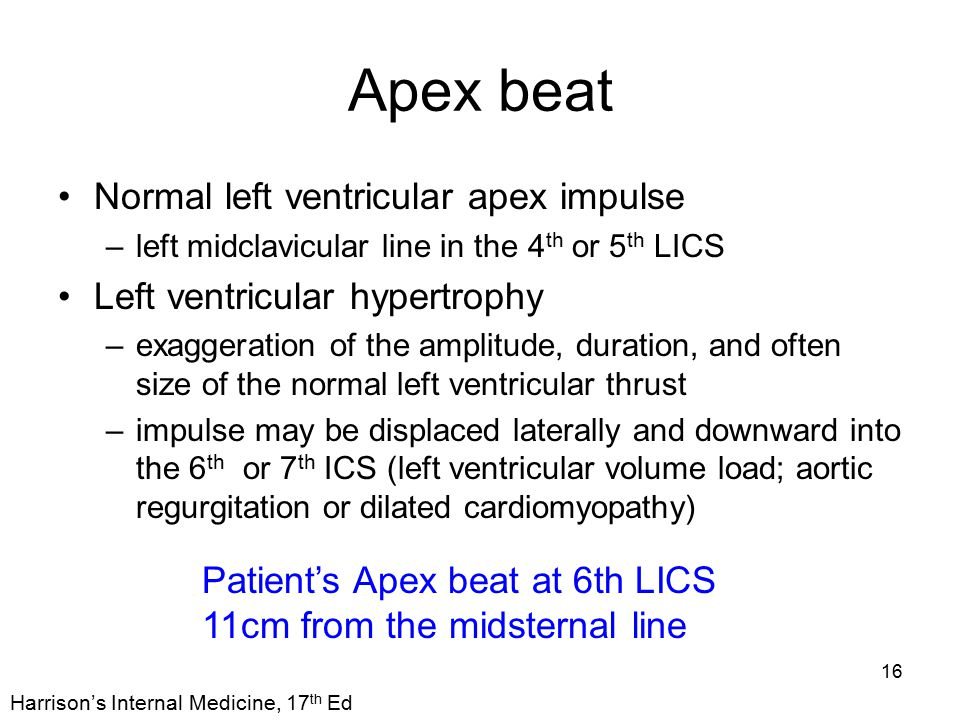 Apex beat Normal left ventricular apex impulse