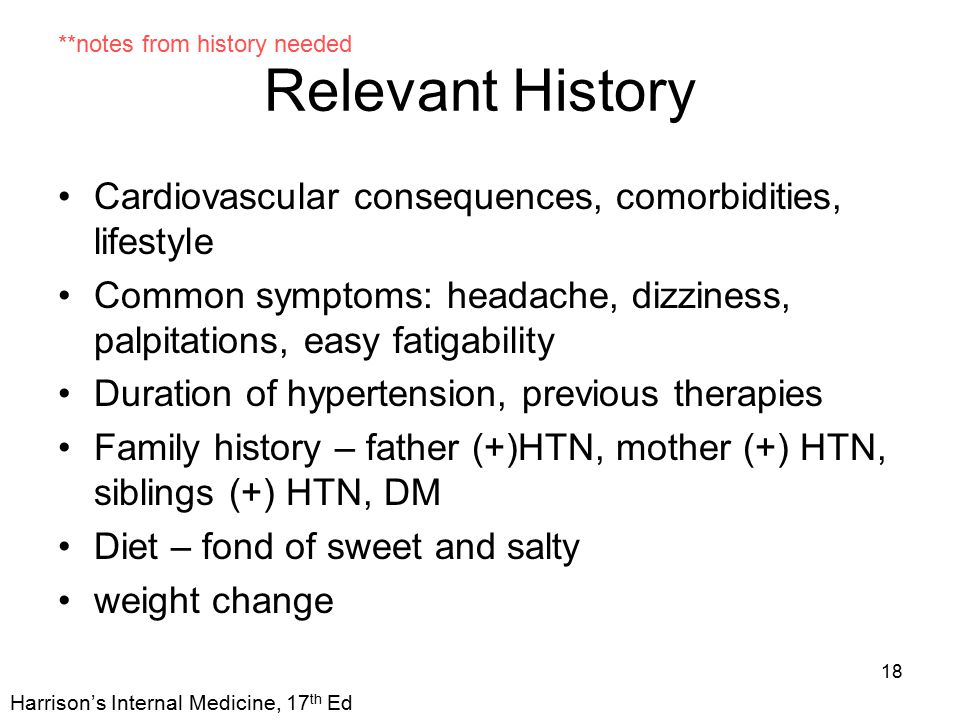 Relevant History Cardiovascular consequences, comorbidities, lifestyle