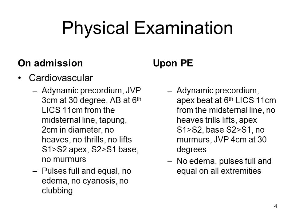 Physical Examination On admission Upon PE Cardiovascular