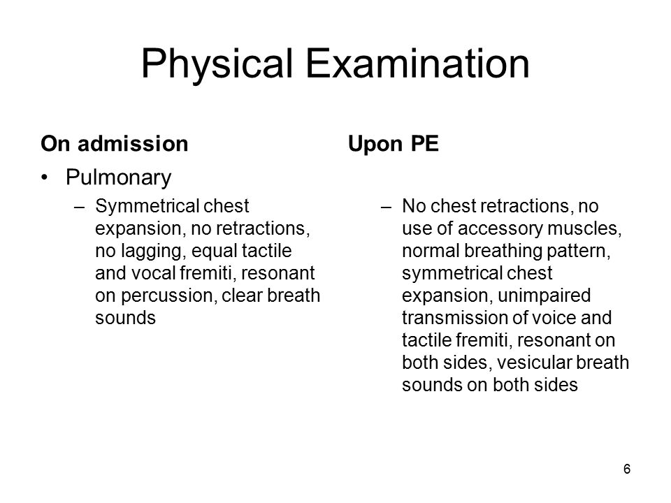 Physical Examination On admission Upon PE Pulmonary