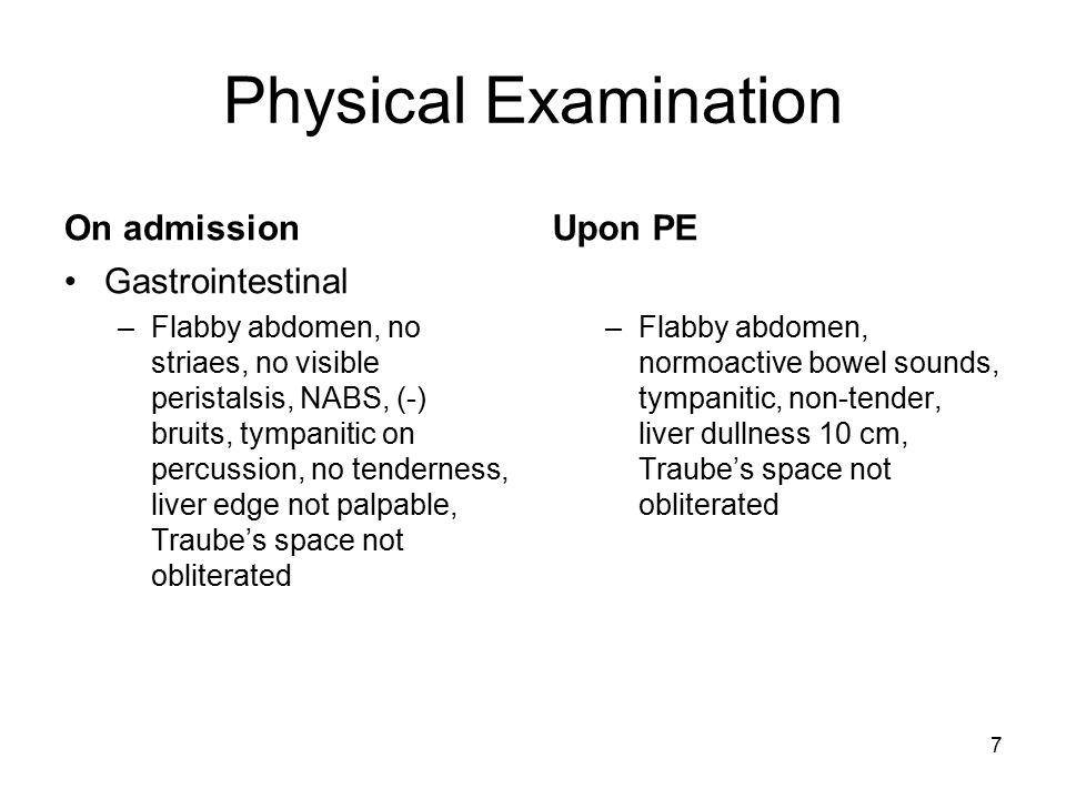 Physical Examination On admission Upon PE Gastrointestinal