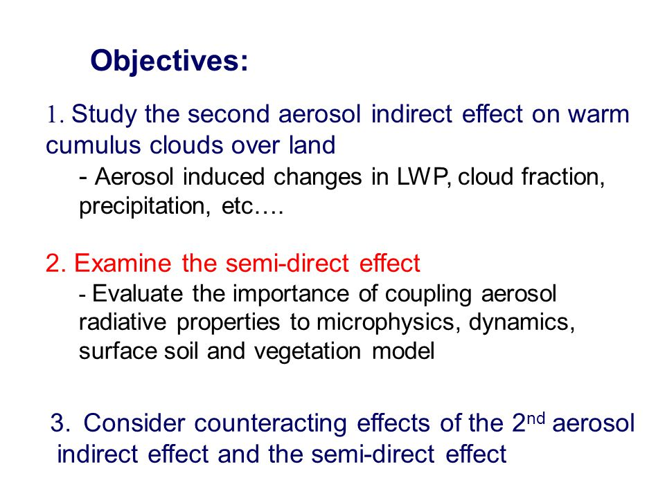 Objectives: 1. Study the second aerosol indirect effect on warm cumulus clouds over land.