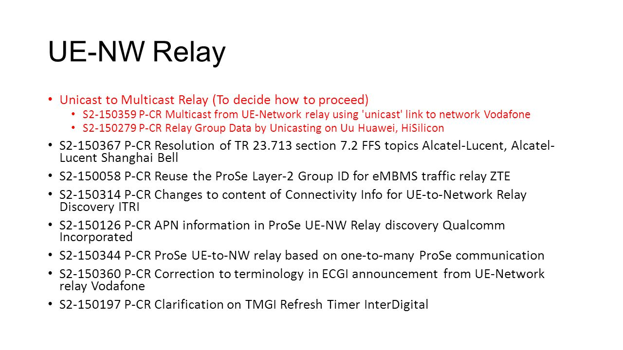 UE-NW Relay Unicast to Multicast Relay (To decide how to proceed)