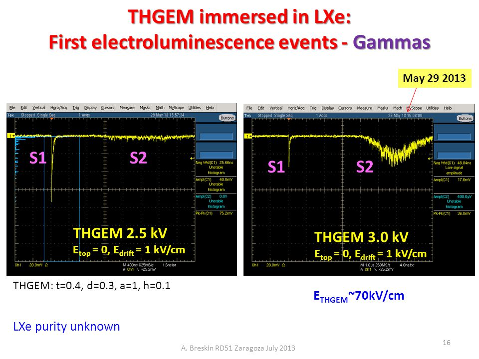 THGEM immersed in LXe: First electroluminescence events - Gammas