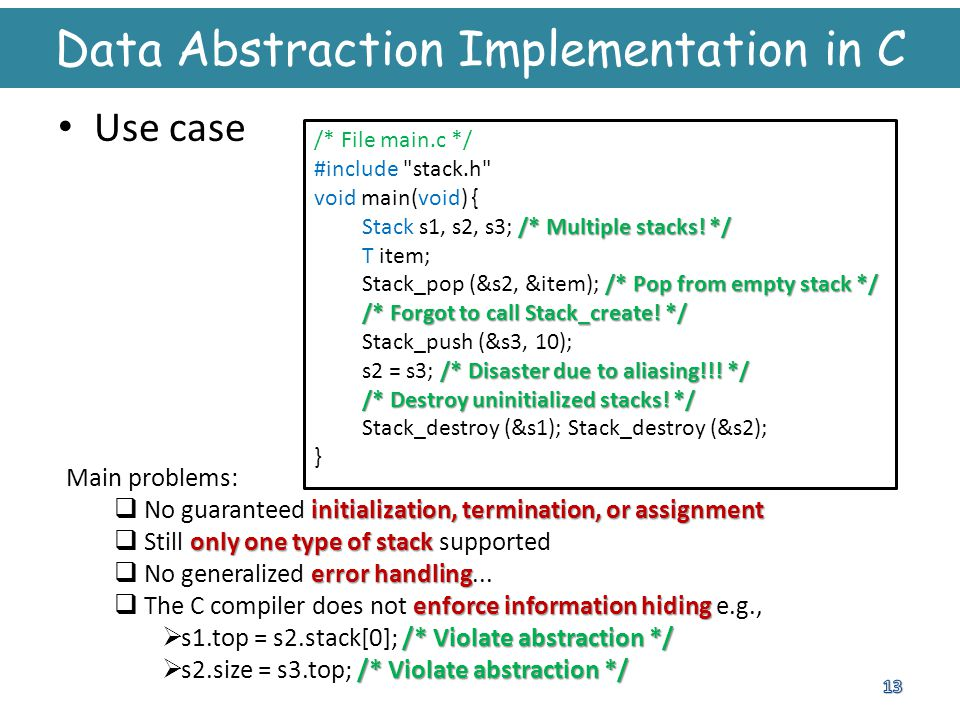 Data Abstraction Implementation in C