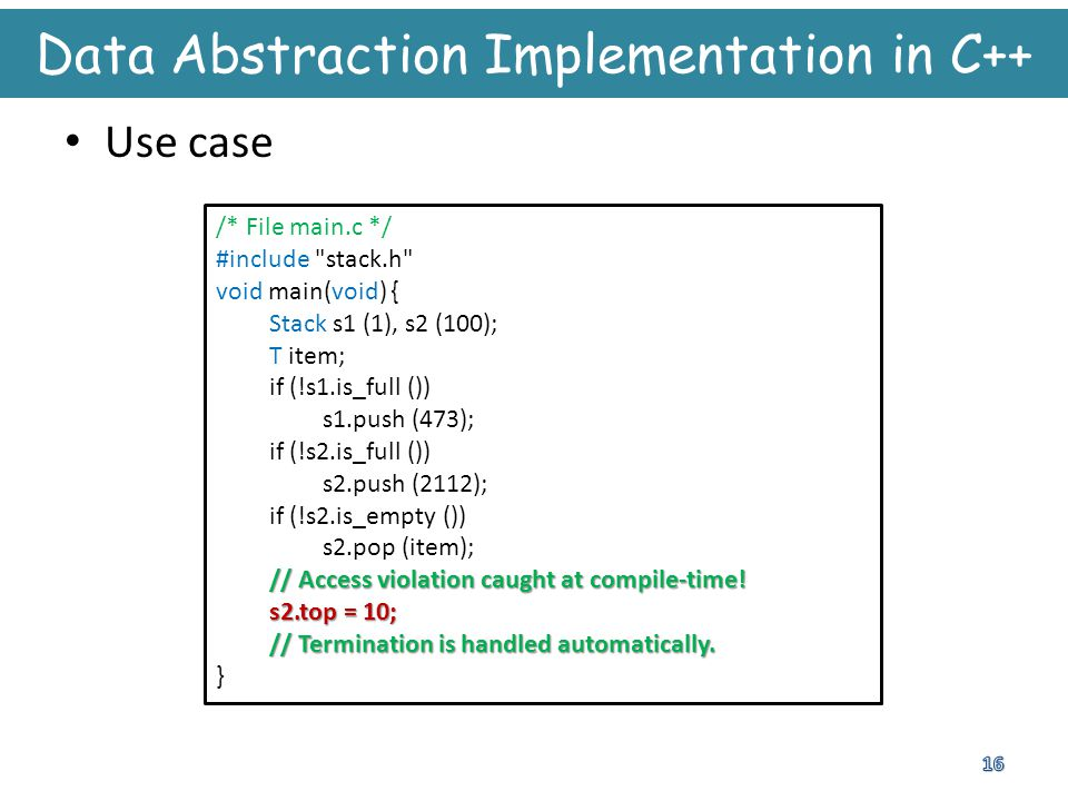 Data Abstraction Implementation in C++