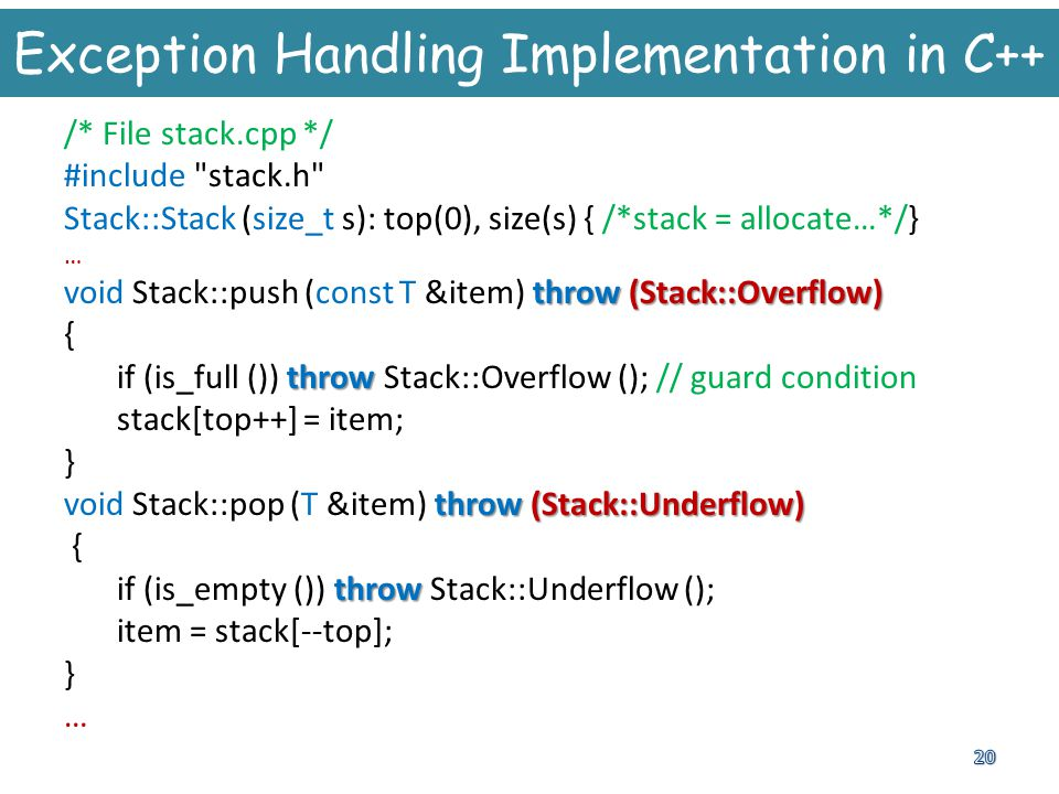 Exception Handling Implementation in C++