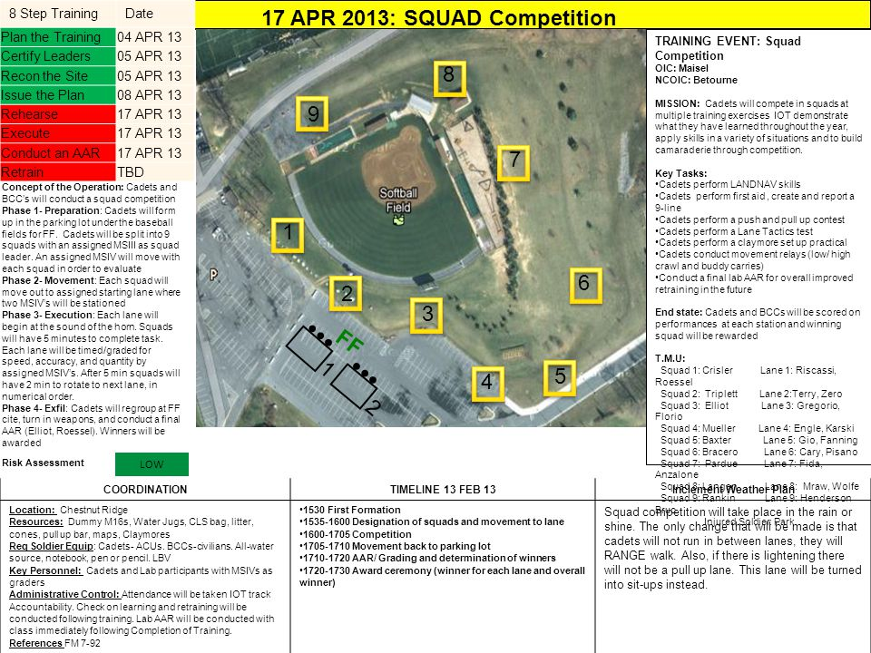 17 APR 2013: SQUAD Competition Inclement Weather Plan