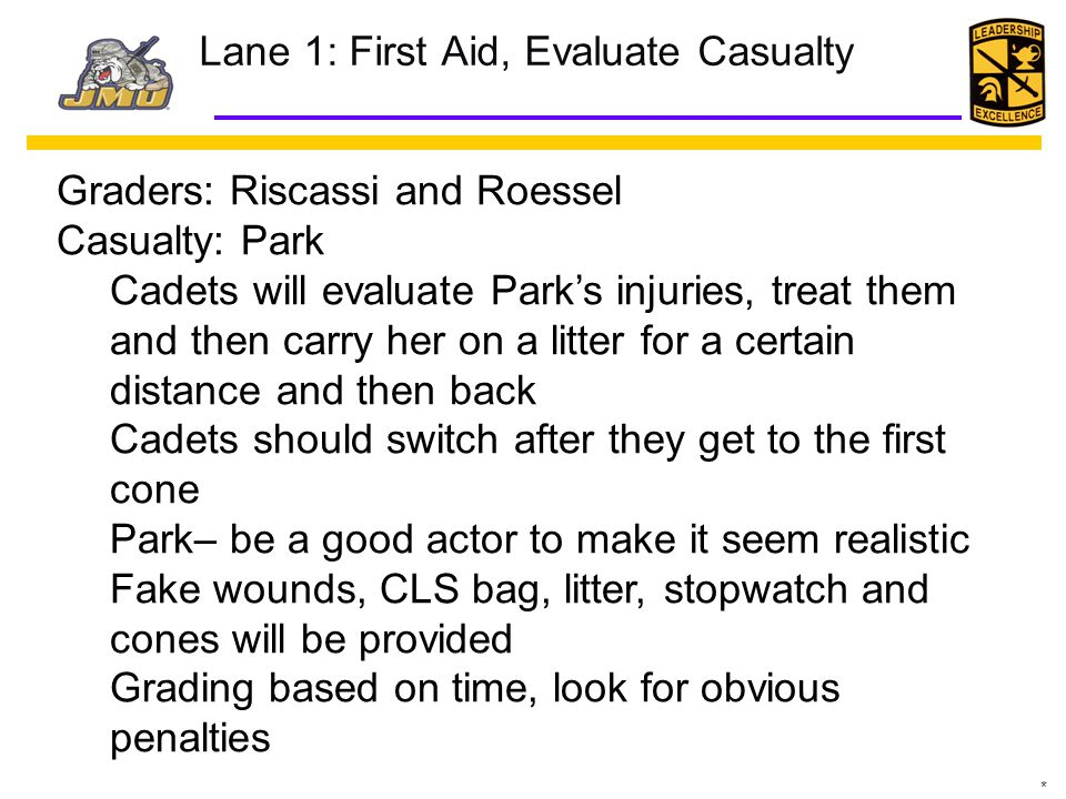 Lane 1: First Aid, Evaluate Casualty