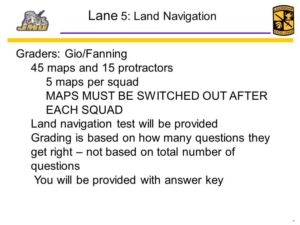 Lane 5: Land Navigation Graders: Gio/Fanning