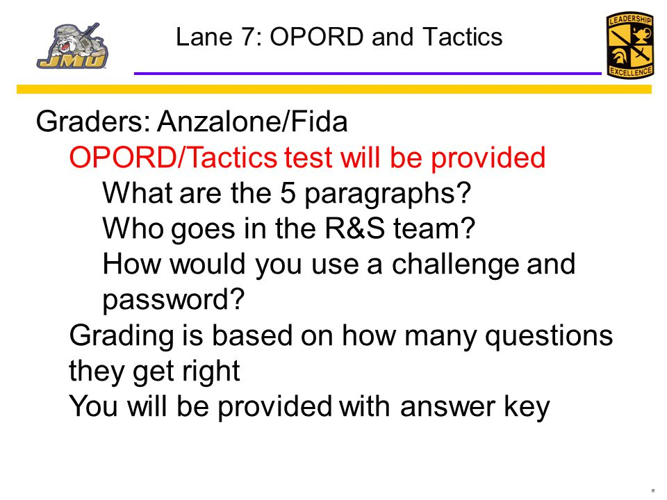 Lane 7: OPORD and Tactics