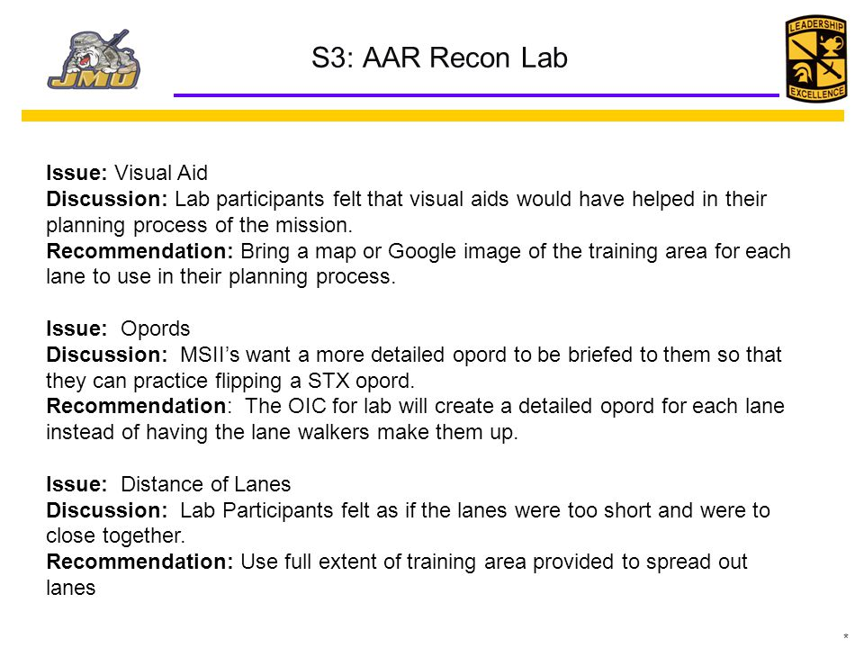 S3: AAR Recon Lab Issue: Visual Aid