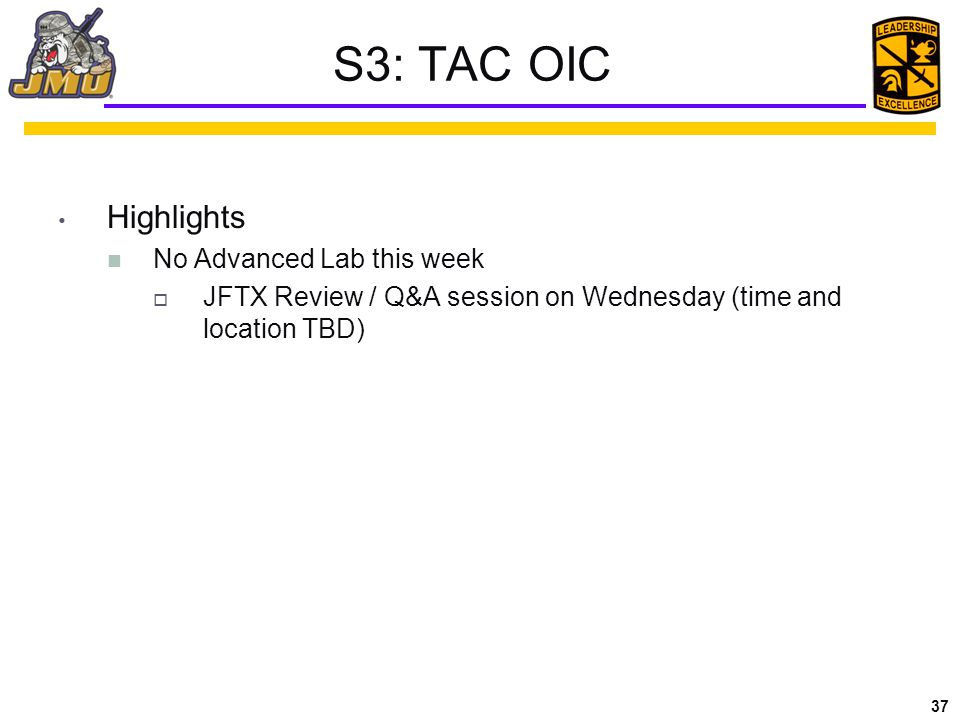 S3: TAC OIC Highlights No Advanced Lab this week