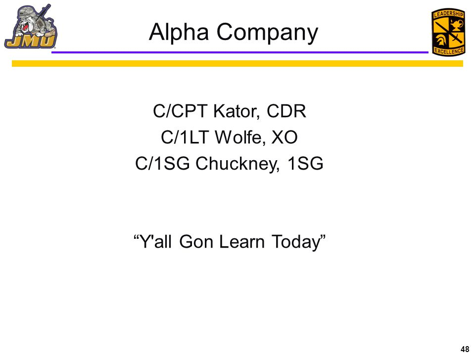 Alpha Company C/CPT Kator, CDR C/1LT Wolfe, XO C/1SG Chuckney, 1SG