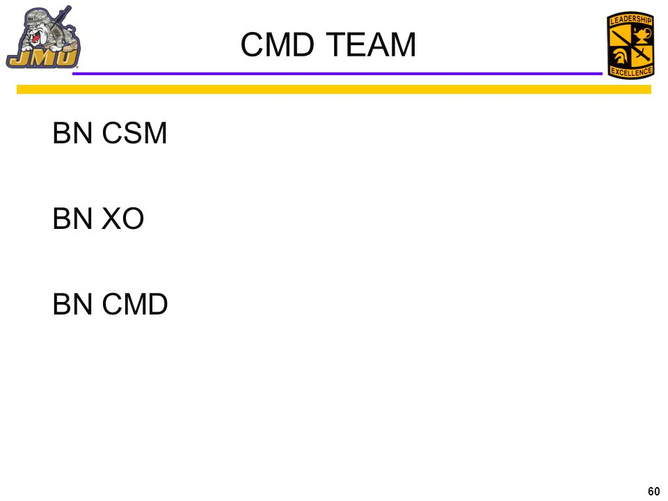 CMD TEAM BN CSM BN XO $ BN CMD