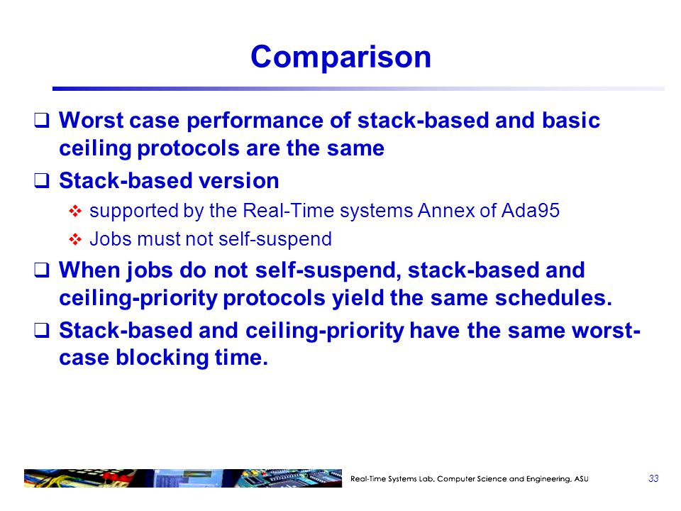 Comparison Worst case performance of stack-based and basic ceiling protocols are the same. Stack-based version.