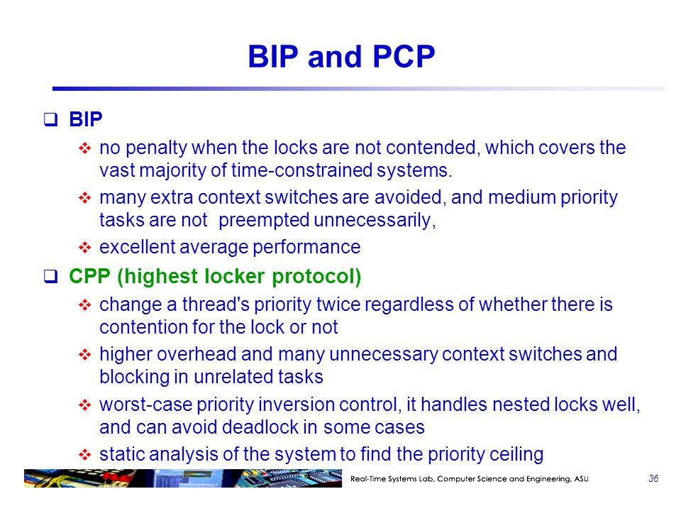 BIP and PCP BIP CPP (highest locker protocol)