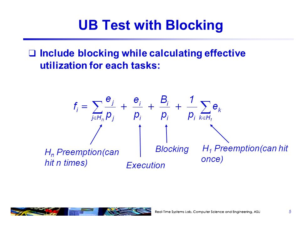 UB Test with Blocking Include blocking while calculating effective utilization for each tasks: Hn Preemption(can hit n times)