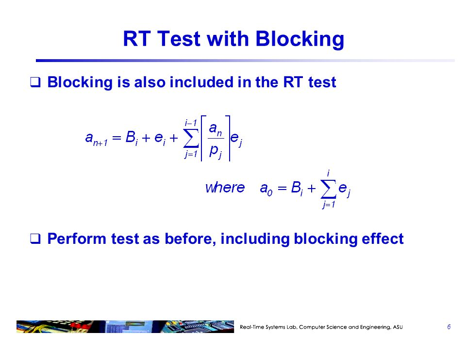 RT Test with Blocking Blocking is also included in the RT test