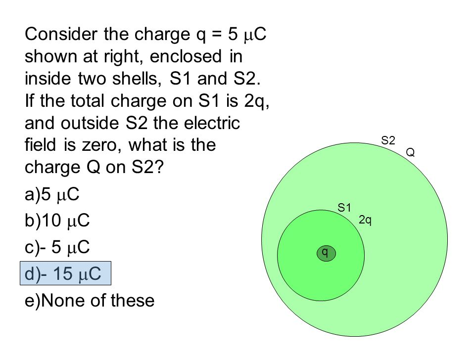 Consider the charge q = 5 C shown at right, enclosed in inside two shells, S1 and S2. If the total charge on S1 is 2q, and outside S2 the electric field is zero, what is the charge Q on S2
