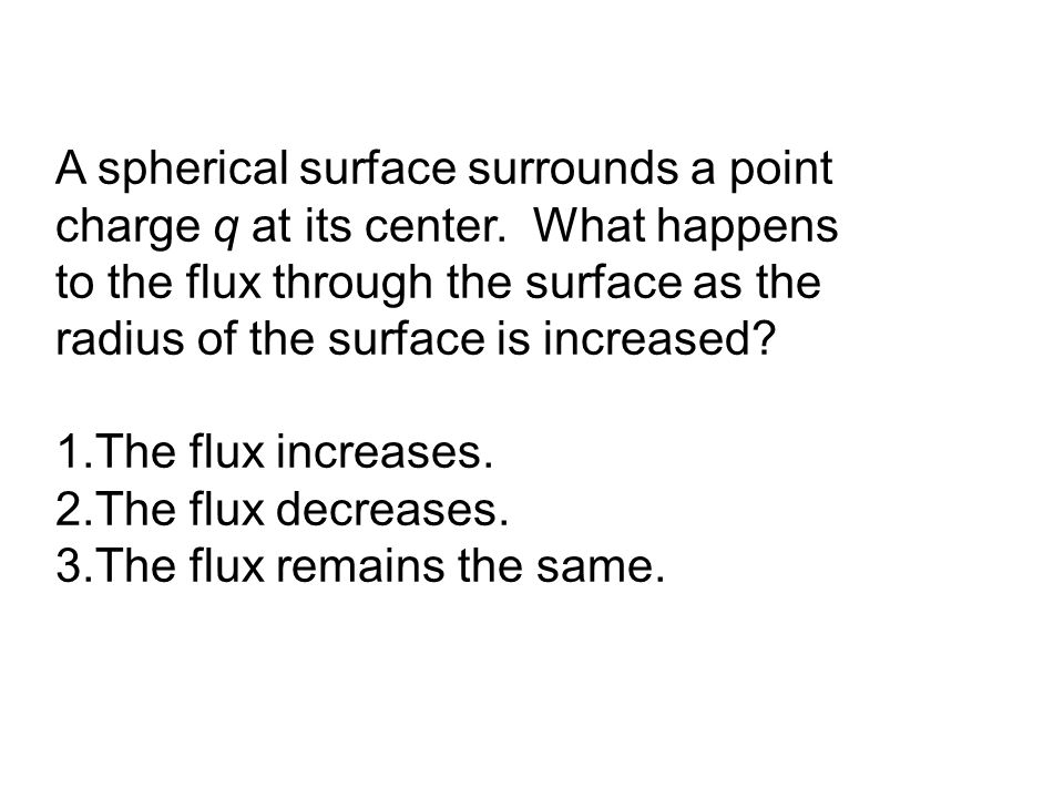 A spherical surface surrounds a point charge q at its center