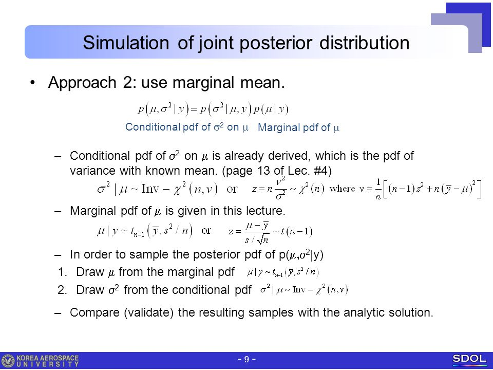 Simulation of joint posterior distribution