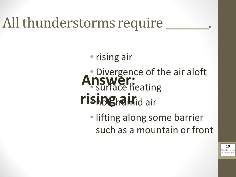 All thunderstorms require ________.