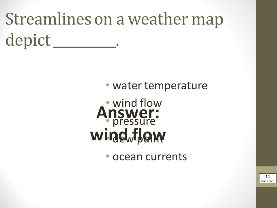 Streamlines on a weather map depict __________.