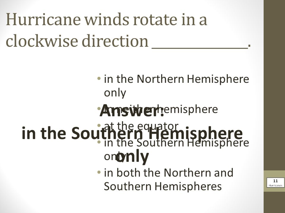 Hurricane winds rotate in a clockwise direction _______________.