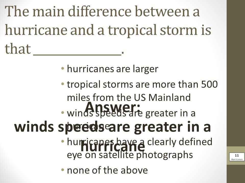 winds speeds are greater in a hurricane