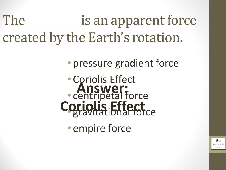 The __________ is an apparent force created by the Earth's rotation.