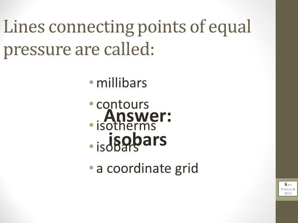 Lines connecting points of equal pressure are called: