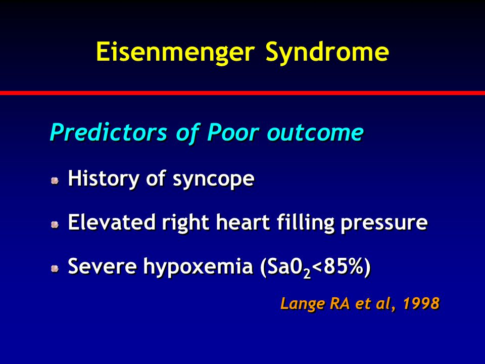 Eisenmenger Syndrome Predictors of Poor outcome History of syncope