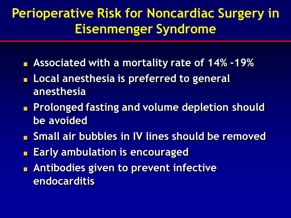 Perioperative Risk for Noncardiac Surgery in Eisenmenger Syndrome