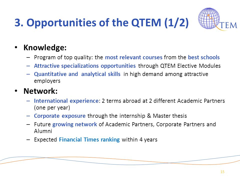 3. Opportunities of the QTEM (1/2)